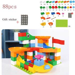 Image 3 - 88 352 PCS 블록 대리석 레이스 실행 미로 공 트랙 빌딩 블록 플라스틱 깔때기 슬라이드 조립 벽돌 아이들을위한 호환 선물