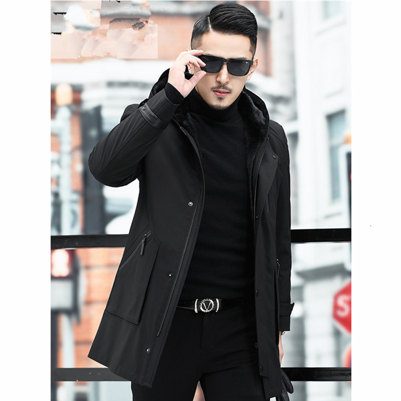 Real Fur Coat Men Real Mink Fur Coat Korean Mink Fur Hooded Winter Jacket Men Real Fur Parka Plus Size Casaco 11-981903 YY1158