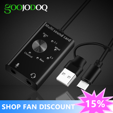 Headset 7.1 External Sound Card for Laptop USB Audio Interface 5.1 USB Sound Card 2 in 1 Microphone Earphone 6 Sound Effects waveblaster module midi interface board sound card wavetable