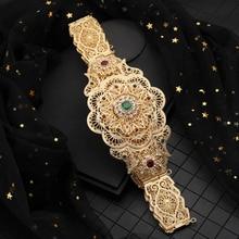New Model Gold Waist Chain with Hollow Out Flower Belt Buckle Arabic Royal Wedding Jewelry Belts Chic Kaftan Belts