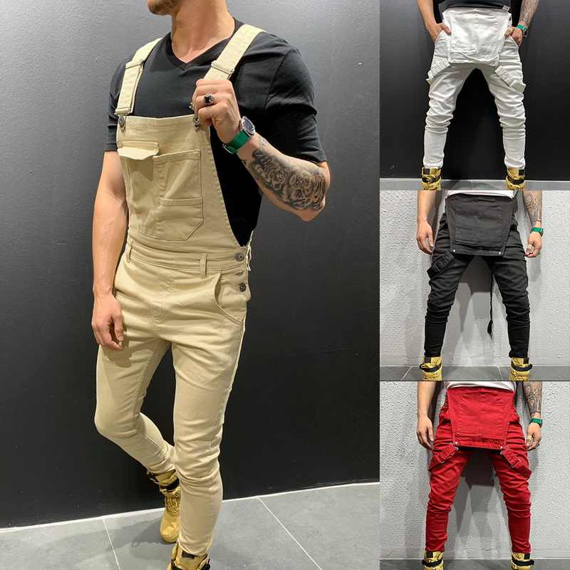 2019 High Street Pockets Jeans Jumpsuit Men Fashion Slim Fit Denim Overalls Modish Strap Casual Suspender Distressed Jeans Pant