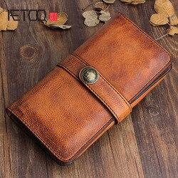 AETOO Original design handgemachte retro leder herren lange brieftasche erste schicht von leder handtasche spange weiche leder