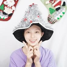 Hats Dress Costume-Decor Christmas-Tree-Hat Fancy Party Adult Xmas Cap Tinsel Shiny 1pc