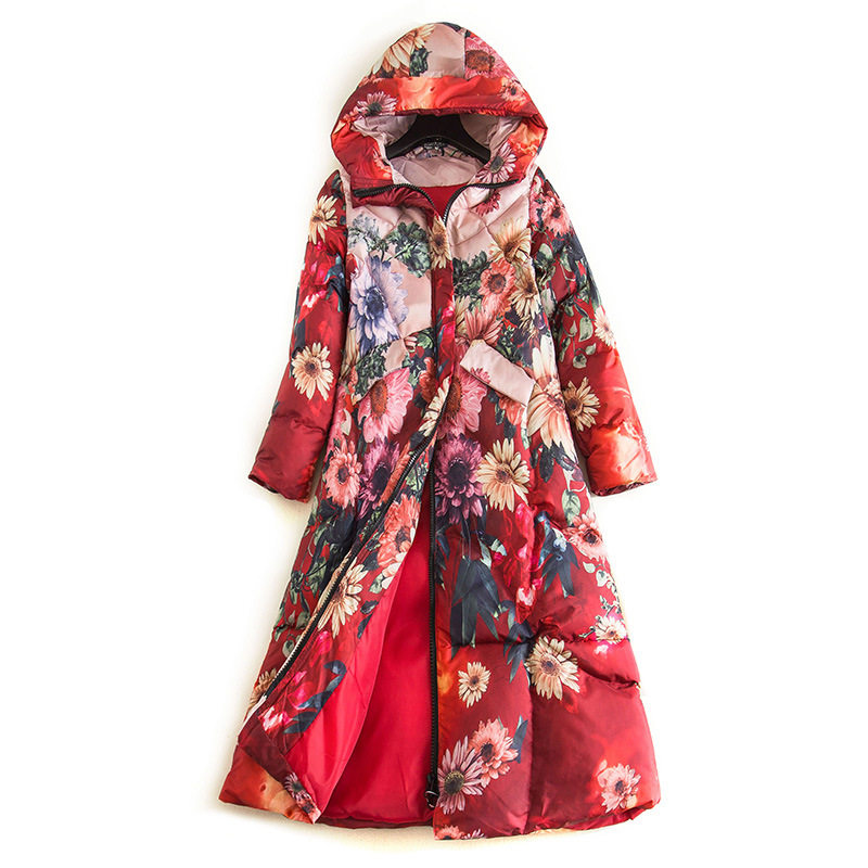 Floral Printed Down Jacket Long Padded Coat Womens Winter Parkas Hoodies Thick Warm Windbreaker Chinese Style Fashion Outerwear