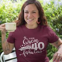 40th cumpleaños Queen camiseta impresa divertida para mujer de algodón puro mamá vida negro camiseta Tops para mujer verano moda ropa de Tumblr