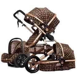 Carrinho de bebê 3 em 1 com assento de carro alta paisagem carrinho de bebê dobrável carrinho de bebê assento de carro carrinhos de bebê quente mãe carrinho de bebê portador