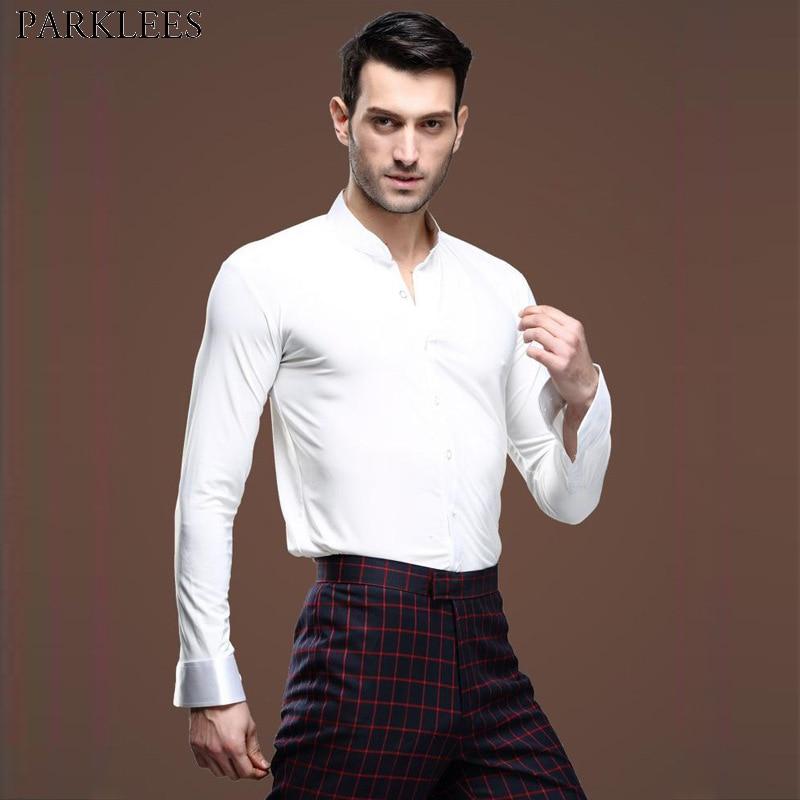 White Dance Shirt Men 2019 New Professional Latin Waltz Tango Tuxedo Shirt Ballroom Show Stage Performance Dancewear Chemise 2XL