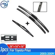 Limpador dianteiro + traseiro conjunto de lâminas de limpador kit para toyota prius 2003-2009 2008 2007 2006 pára-brisas janela traseira 26