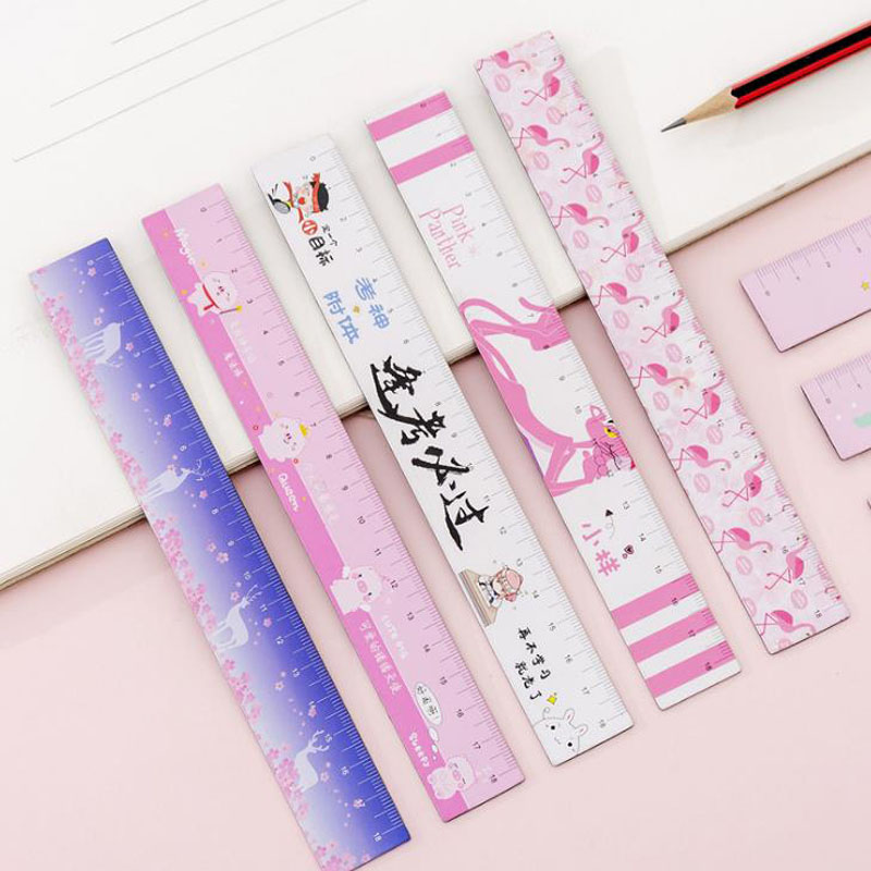 1 Pcs Cute 18cm Magnet Unicorn Flamingo Pink Panther Sakura Pig Straight Rulers Bendable Measuring Drawing Tool Stationery Gift