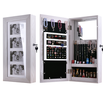 Simple PVC Wood Grain Coating Photo Storage Damp proof Jewelry Earrings Mirror Organizer Cabinet Multifunction