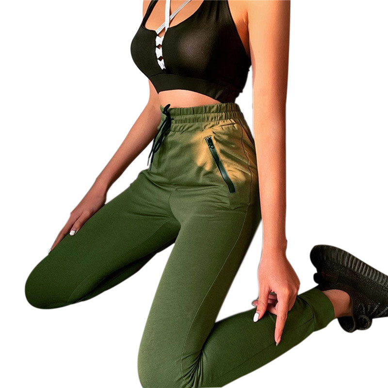 Casual Pure Color Women Yoga Long Pants High Waist Ladies Slim Fitness Sports Pants Female Beamed Trousers Long Pencli Pant 2020