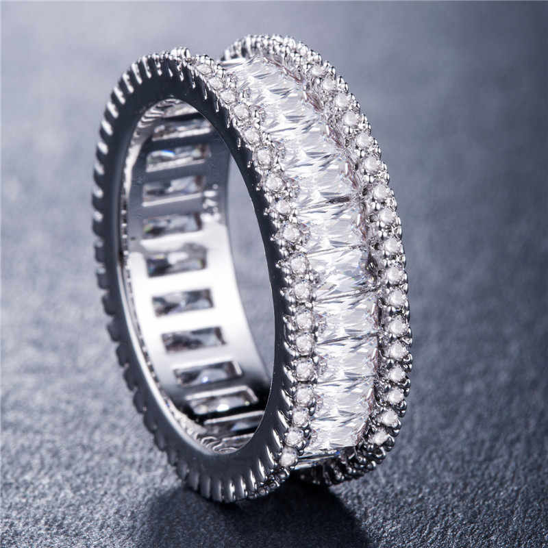 2020 Nieuwe Luxe Ronde 925 Sterling Zilver Eternity Band Ring Afrika Voor Vrouwen Lady Anniversary Gift Sieraden Dropshipping R5389