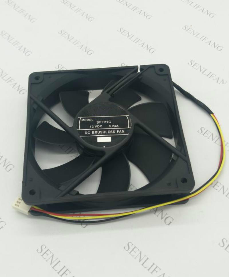 For SFF21C Fluid Dynamic Bearing Cooling Fan DC 12V 0.24A 2.88W 2100RPM 12025 12cm 120*120*25mm 3 Wires Free Shipping