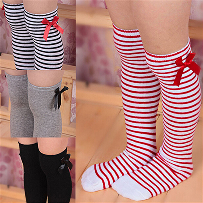 Fashion Cotton Kids Children Baby Toddler Striped Bowknot Over Knee Socks