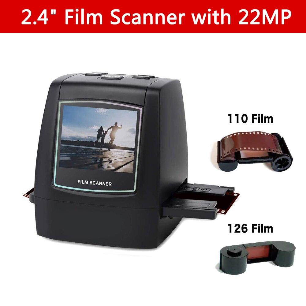 Сканер пленки с преобразователями 22 МП 126KPK/135/110/Super 8 пленок, негативов, негативов, все в одном, цифровой пленочный конвертер, ЖК-экран 2,4 дюйма