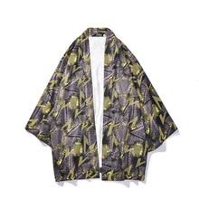 Summer Thin Cardigan Coat Harajuku Japanese Style Lovers Mens Seven-point Sleeve Yukata Robe Loose Kimono Outerwear Tops Blouse