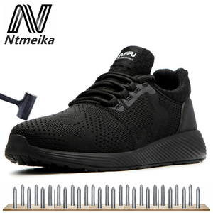 Image 2 - Men Breathable Safety Shoes Steel Toe Black Work Shoes Wearproof Sneakers Large Size 36 48