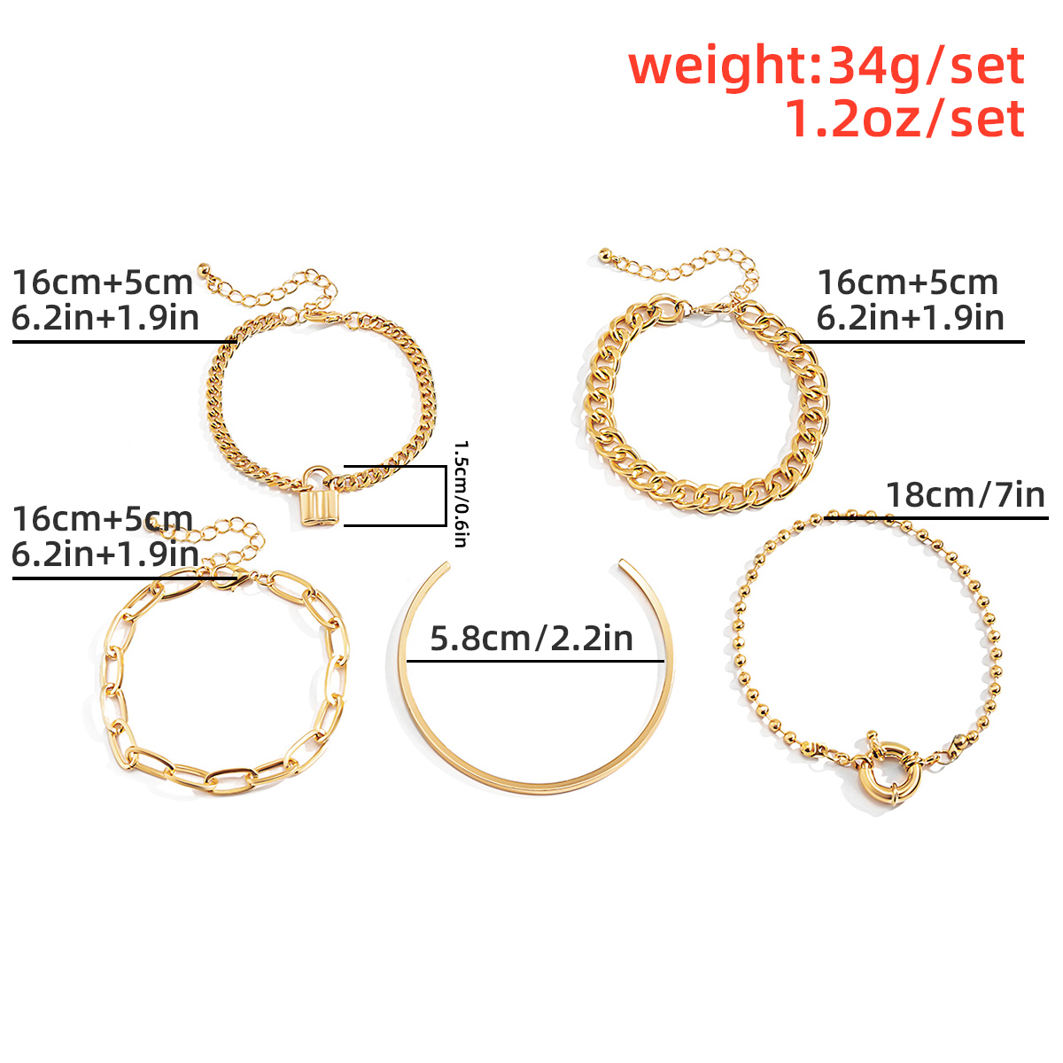 PuRui 5PCS/set Multilayer Gold Color Chain Bracelets & Bangles for Women Men Lock Chunky Bracelet Couples Boho Jewelry Gift