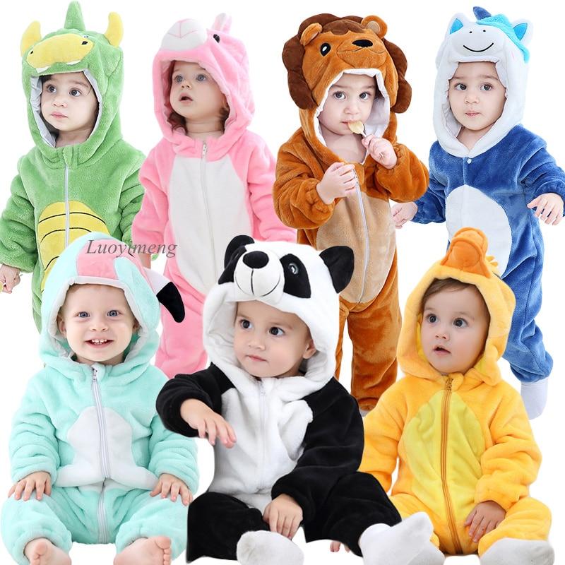 Baby Rompers Baby Girl Clothes Panda Kigurumi Kids Onesie Anime Cosplay Costume New Born Boys Pajamas Flannel Warm Soft Jumpsuit