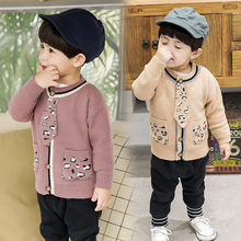 Toddler Boy Cardigan With Tie Baby Knitted Children Knitting Wear Kids Fall Winter Knot Sweater Age 2-7 Years Old