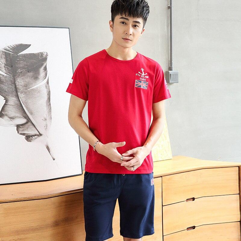 2018 Summer Men's Casual Suit Men's Sport Suit Men's Wear Large Size Short Sleeve T-shirt Suit Trend Half Sleeve