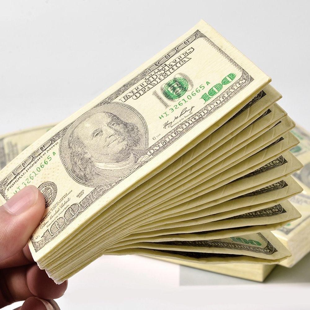 100 $ креативная салфетка для долларов США, бумажное полотенце для купюр в долларах США, вечерние подарочные салфетки 10 шт./упак. одноразовые с...