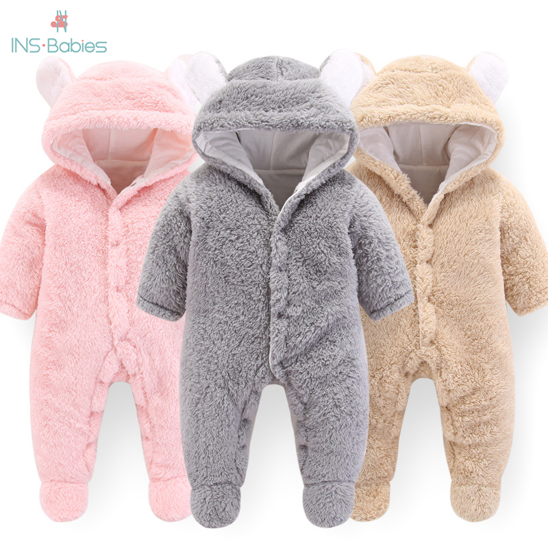 2020 Newborn Baby Winter Hoodie Clothes Polyester Infant Baby Girls Pink Climbing New Spring Outwear Rompers 3m-12m Boy Jumpsuit
