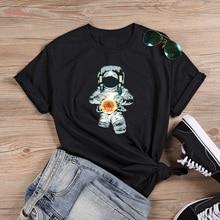 100% algodão tumblr grunge moda feminina casual unissex tshirt topo camiseta colorida espaço astronauta bola de sol bonito