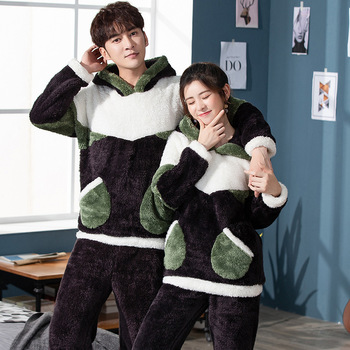 Coral Couple Pajamas Flannel Mens Cartoon Hooded Plush Home Wear Autumn and Winter Polyester Full Length ELAN MILRE