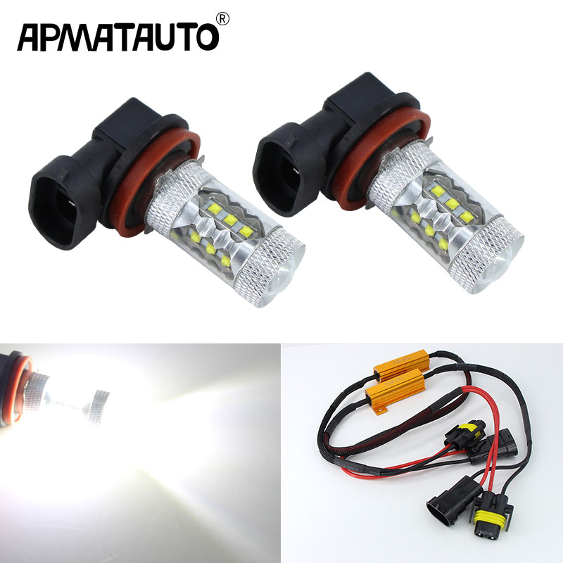 2x CANbus 80W H8 H11 LED Fog Light Driving Bulbs for BMW E63 E64 E90 E91 E92 E93 328i 328xi X5 E53 E70 E46 325i 330i X3 E83 image