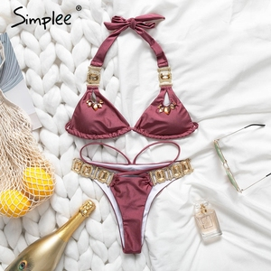 Image 2 - Simplee Gem bikinis 2019 mujer Sexy halter swimwear women bathing suit biquini Summer beach wear new Push up swimsuit female