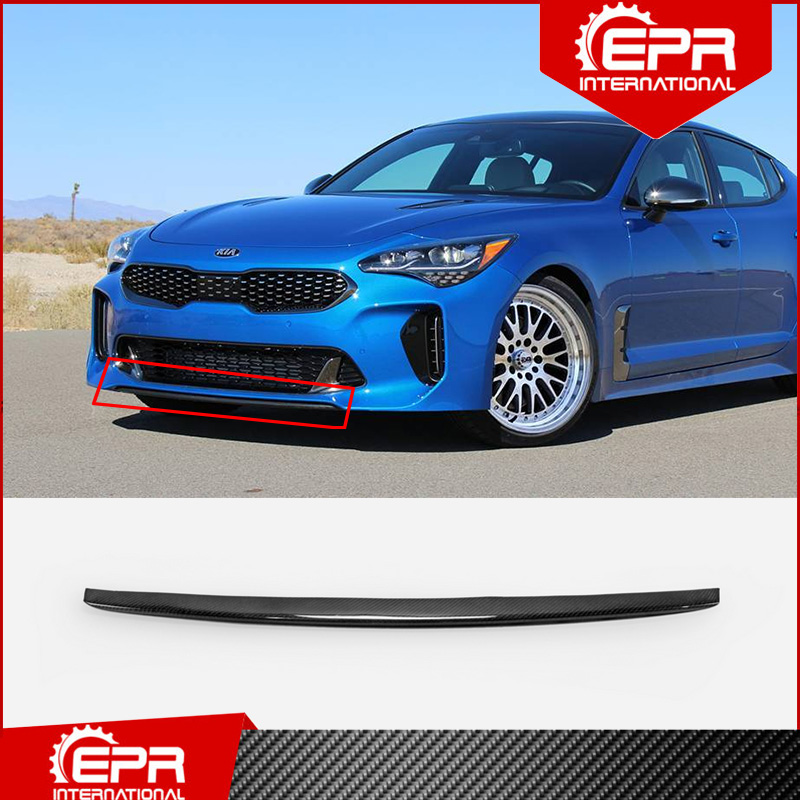 For <font><b>Kia</b></font> Stinger EPA Carbon Fiber Front Bumper Lip Cover (Replace OEM Front Lip) Stinger Glossy Carbon Splitter Trim Part image
