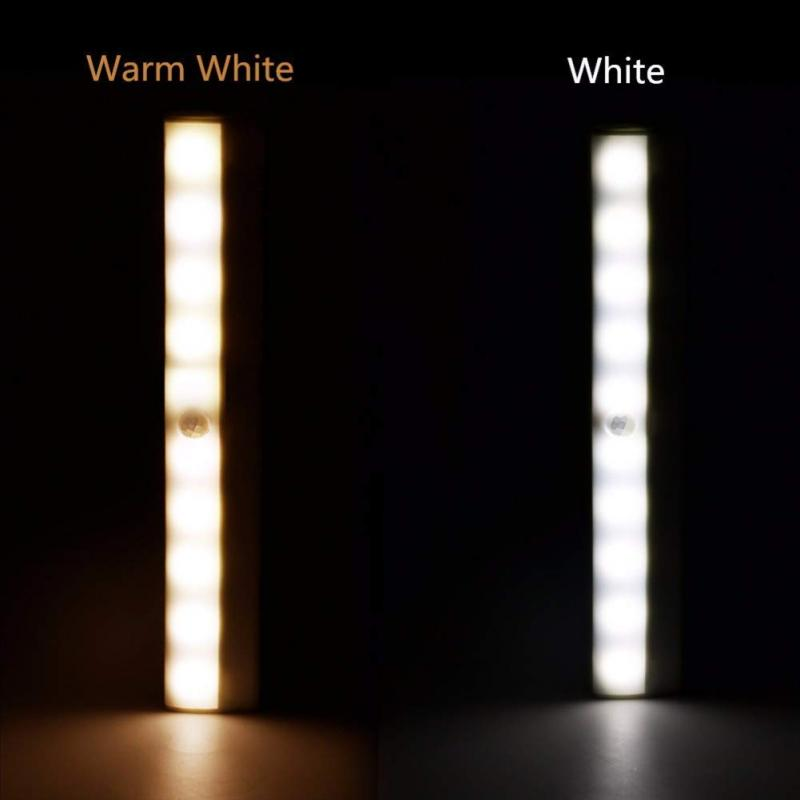 Dropshipping 10 LEDs Motion Sensor Lamp Cupboard Wardrobe Bed Lamp LED Wireless Under Cabinet Closet Night Light Battery Powered