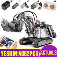 Juguetes técnicos para coches compatibles con lepining 42100 Liebherrs R 9800 excavadora Motor grúa juguetes navideños para niños bloques de construcción de ladrillo