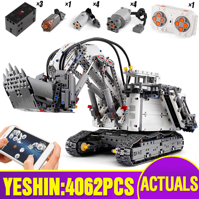 Technic Car Toys Compatible With Lepining 42100 Liebherrs R 9800 Excavator Motor Crane Kids Christmas Toys Building Blocks Brick