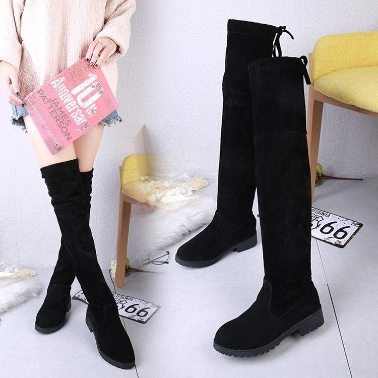 Otoño e Invierno 2019 nuevas botas de mujer botas altas de gamuza botas de tacón bajo de algodón de manga caliente botas de mujer