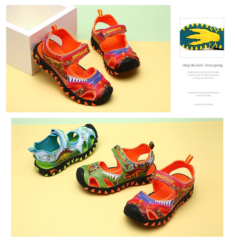 DINOSKULLS Children's Sandal 6 Boys Dinosaur Summer Breathable Leather Cut-Outs 7T Kids Casual Beach Sports Shoes School Sandals