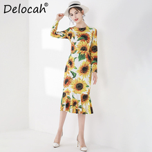Delocah Runway Fashion Autumn Trumpet Mermaid Dress Womens Long Sleeve Sunflower Printed High Waist Elegant Casual Midi Dresses