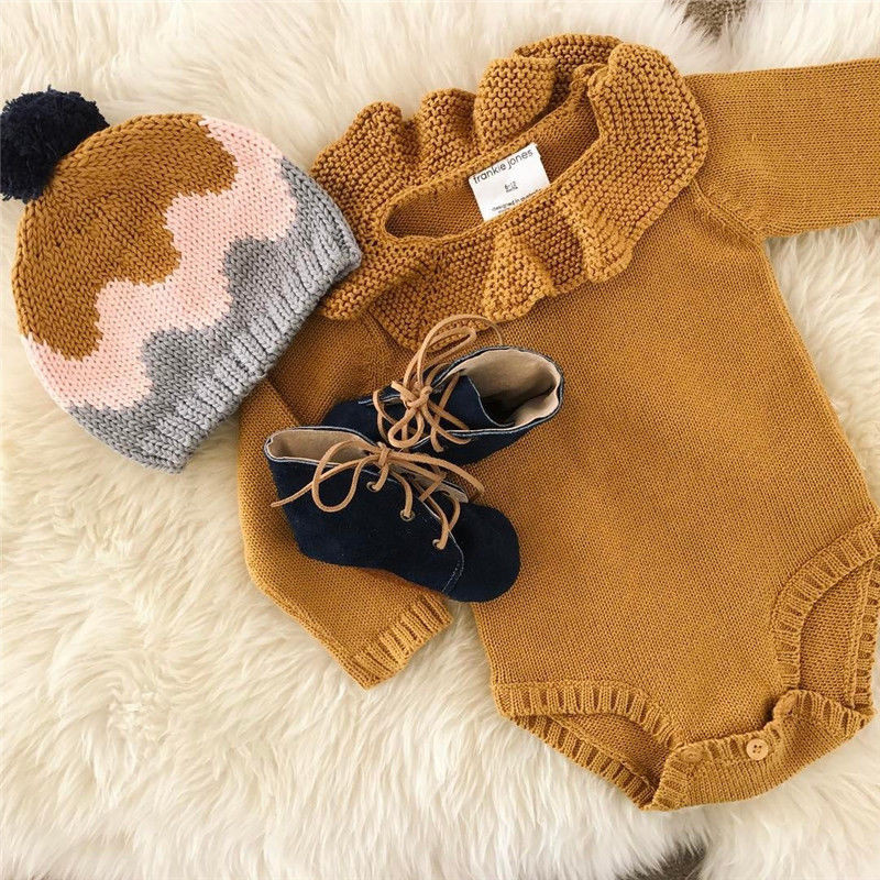 Toddler Newborn Infant Casual Baby Girl Winter Sweater Clothes Baby Boys Solid Romper Long Sleeve Knitted Sweaters