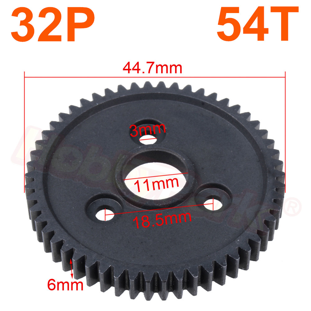Hardened Steel Metal Spur Gear 54T Tooth 32P 3956 For RC 1/10 Traxxas Slash 4x4 Stampede 4x4 VXL / Rustler 4X4 / E-Revo / T-Maxx