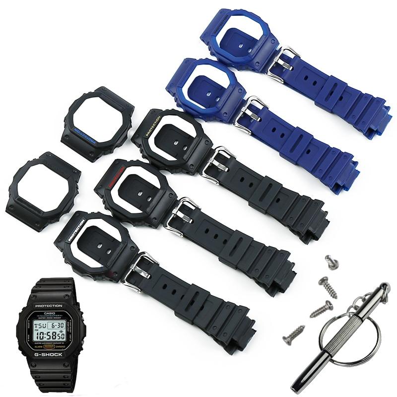 Watch Accessories Resin Strap Case Men's For Casio G-SHOCK DW5600 GW5000 GW5035 GW5030 Waterproof Rubber Strap Female Watch Band