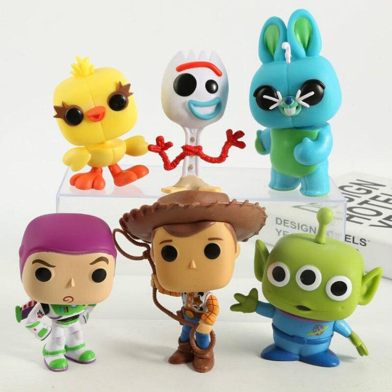 6 uds Funko POP juguete historia 4 Forky Ducky Bunny, Buzz, Buzz Lightyear Woody Anime colección de figuras de acción juguetes para los niños 2F74
