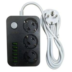 Image 3 - אלקטרוני כוח רצועת שקע האיחוד האירופי Plug 3 יציאות AC 6 USB טעינת יציאות עומס יתר הגנה הארכת 1.5M כבל רשת מסנן