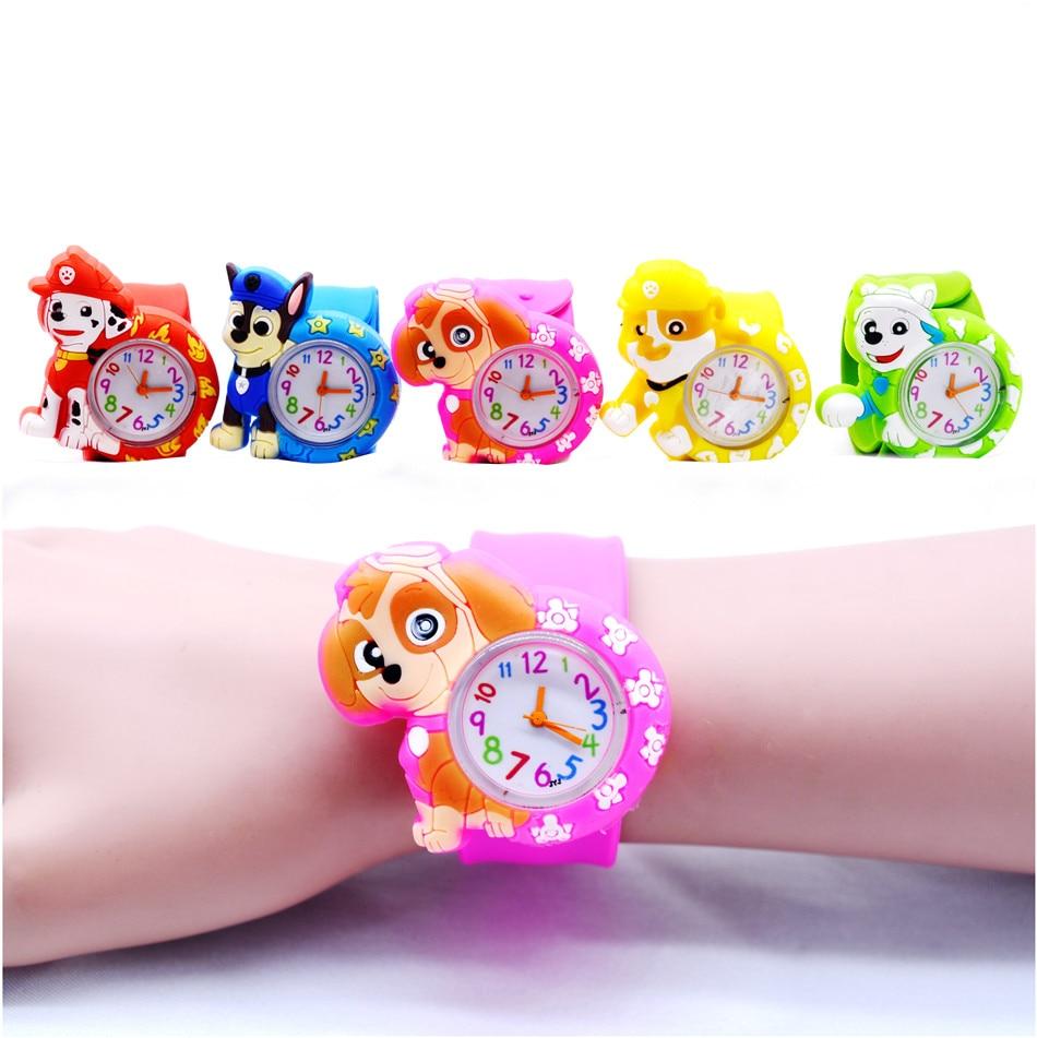 Hot Cartoon Movie Watch Dog Animal Watches Colorful Frozen Rubber Slap Belt Kids Watches Gift