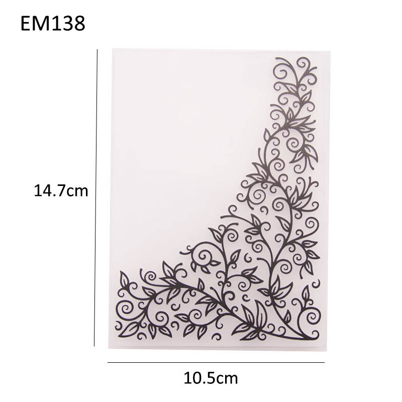 15x15cm KWELLAM Flowers Leaves Corner Frame Plastic Embossing Folders for Card Making Scrapbooking and Other Paper Crafts