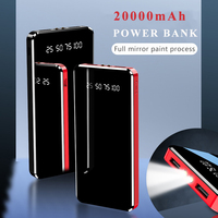 Cep telefonları ve Telekomünikasyon Ürünleri'ten Taşınabil. Güç Kay.'de Güç banka 20000 mAh ayna LED ekran el feneri 10000mAh taşınabilir harici pil şarj edici güç bankası çift USB iPhone 11 7
