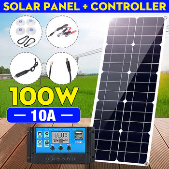 100W 18V MonocrystalineSolar Panel Dual 12V/5V DC USB Charger Kit with 10A Solar Controller & Cables xionel solar charger 40w portable solar panel foldable 5v usb 18v dc dual output charger for phone laptop tablet