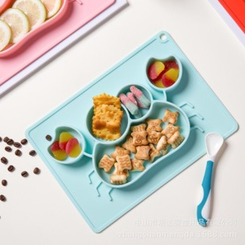 Children's Silicone Feeding Set Combination Drop-Resistant Snack Catcher Food Supplement Tableware Edible Silicon Plate