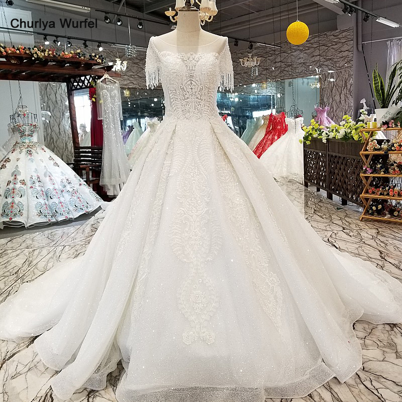 LS31400 cheap new wedding dress appliques o-neck beaded sleeves see-through back beauty wedding gown with train free shipping