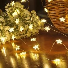 2 м/3 м/4 м Фея звезды светодиодный гирлянды светодиодные светильники с питанием от аккумулятора Медный провод Новогоднее украшение ночное освещение для праздников Свадебная вечеринка